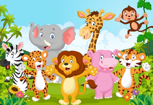Animal background cartoon vector