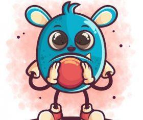 Animal bowler cartoon icon vector