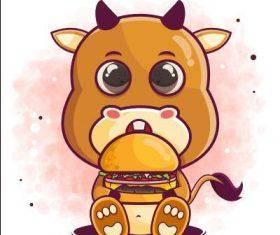 Animal cartoon icon vector eating burge