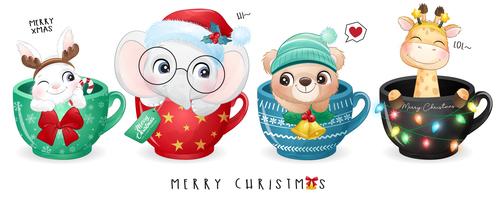Animal cartoon vector in cup