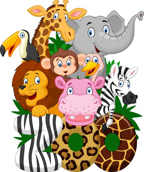 Animal cartoon vector in the zoo