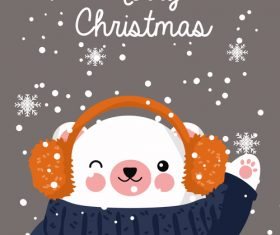 Animal cover christmas card vector