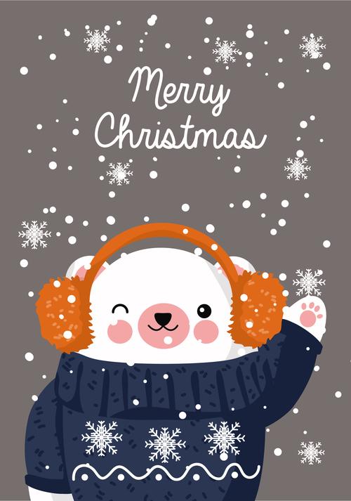 Animal cover christmas card vector