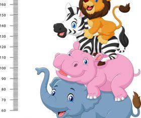 Animal height measurement cartoon vector