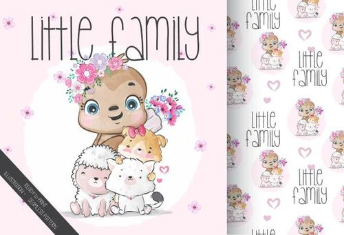 Animal litte family cartoon seamless background vector