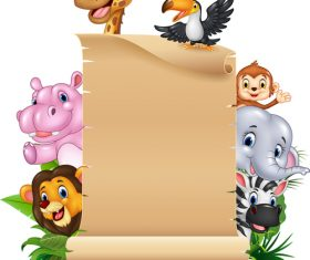 Animals and brown paper cartoon vector
