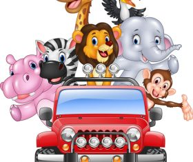 Animals driving cars cartoon vector