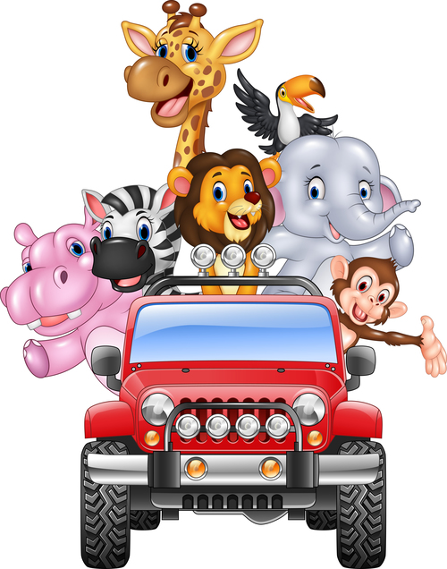 Animals driving cars cartoon vector
