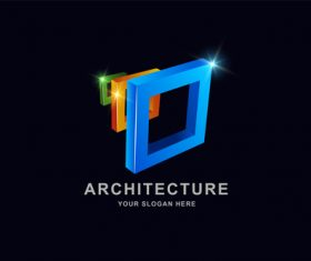 Architecture 3d square pattern design vector