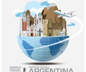 Argentina famous tourist attractions concept vector