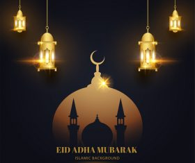 Art Eid ADHA mubarak greeting card vector
