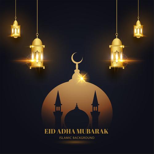 Art Eid ADHA mubarak greeting card vector