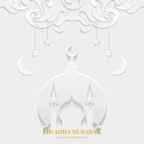 Art paper cut Eid ADHA mubarak greeting card vector