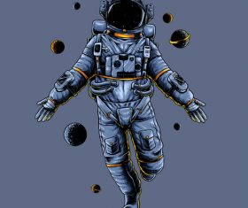 Astronauts are flying dancing vector