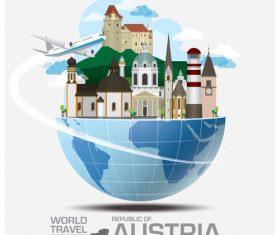 Austria famous tourist attractions concept vector