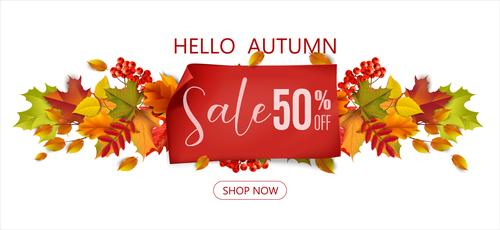 Autumn half price promotion poster vector