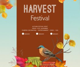 Autumn harvest festival flyer or poster template