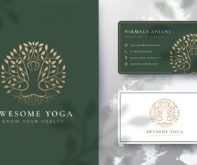 Awesome yoga cover logo design vector