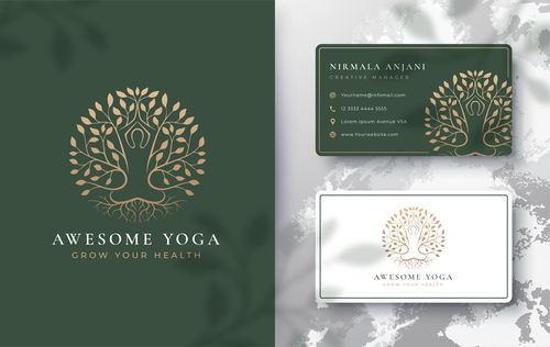 Awesome yoga cover logo design vector