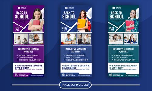Back to school poster banner vector