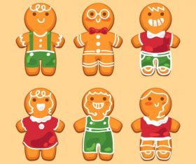 Baking gingerbread characters flat vector