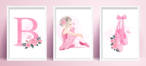 Ballerina little girl watercolor illustration vector