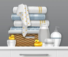 Bath towels and personal skin care products vector