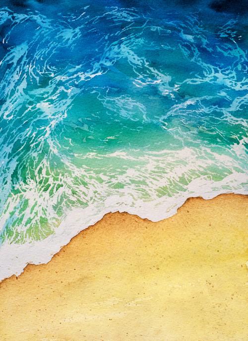 Beach watercolor illustrations vector