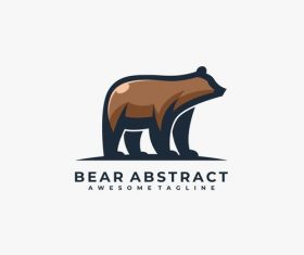Bear abstract logos vector