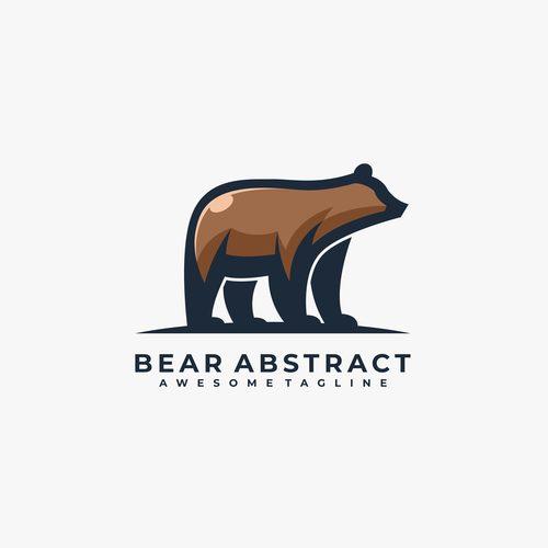 Bear abstract logos vector