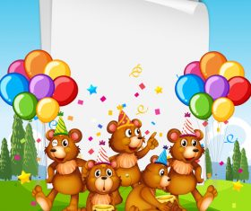 Bear family party vector