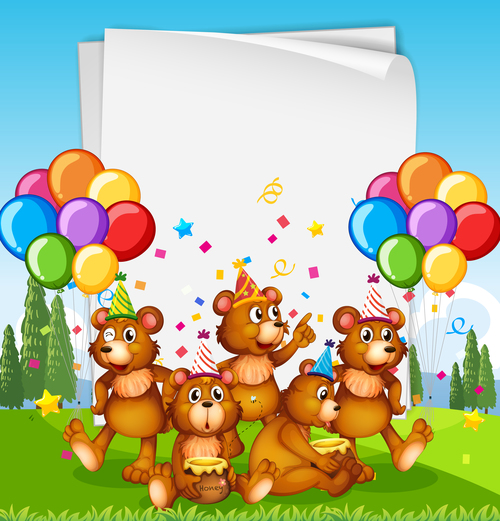 Bear family party vector