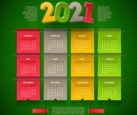 Beautiful 2021 calendar vector on green background
