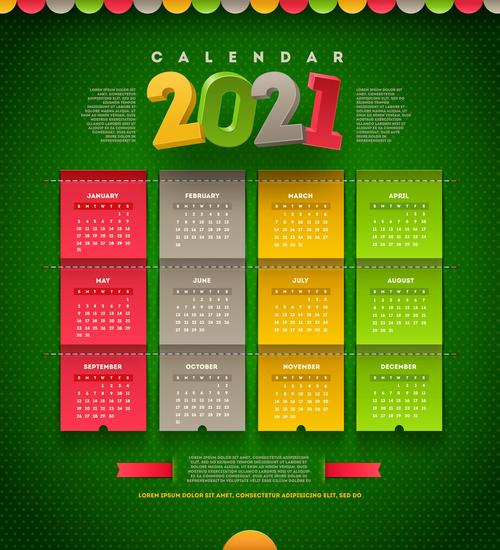 Beautiful 2021 calendar vector on green background free ...