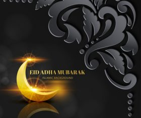 Beautiful Eid ADHA mubarak greeting card vector