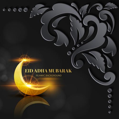 Beautiful Eid ADHA mubarak greeting card vector