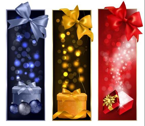 Beautiful bow and Christmas gift banner vector