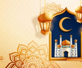 Beautiful cartoon background eid mubarak vector