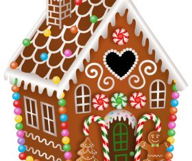 Beautiful cottage christmas gingerbreads making vector