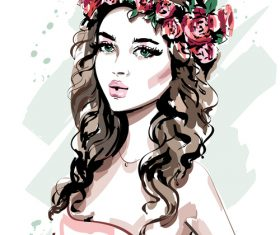 Beautiful girl head wearing a wreath hand drawn vector