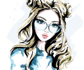 Beautiful girl with glasses watercolor illustration vector