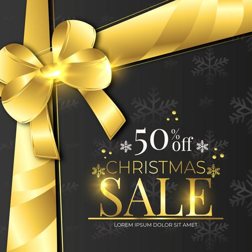 Beautiful wrapped gift christmas sale flyer vector
