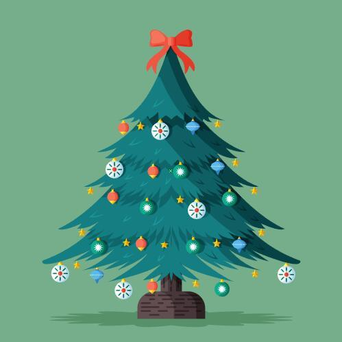 Beautifully decorated Christmas tree vector