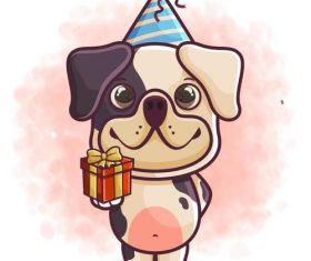 Birthday gift cartoon icon vector
