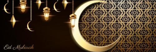 Black and gold background Eid mubarak greeting card vector