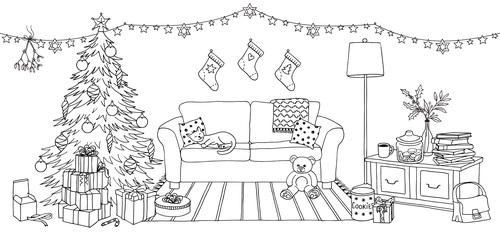 Black and white room xmas vector