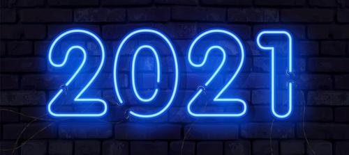 Black background blue 2021 neon vector