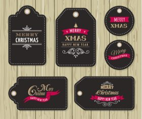 Black christmas label vector