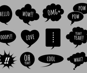 Black comic bubbles vector