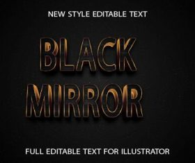 Black mirror golden 3d text effect vector